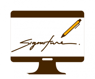 This decorative image is an illustration of a computer screen showing a pen and the word signature underneath it. The image is mostly single color brown colored infographic style, but the pen is drawn in gold.