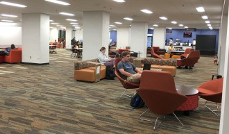 Students using first floor after renovations.