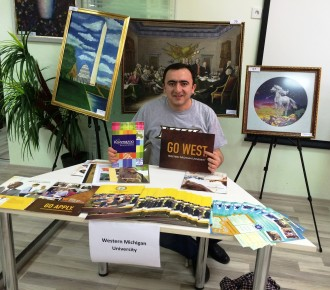 WMU recruiter at a college fair.