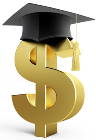 Graphic of a dollar sign wearing a diploma.