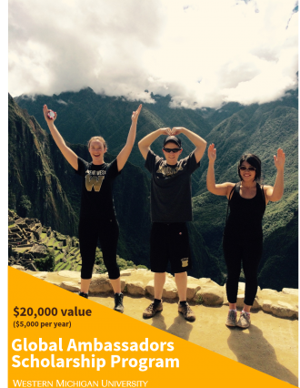 "Three WMU students making ""WMU"" with their bodies and hands at the top of Machu Picchu. Decorative text overlay."