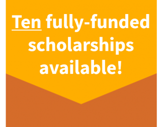 "Decorative: ""Ten fully-funded scholarships available!"""