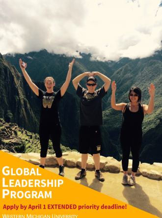 "Three students overlooking Macchu Picchu making ""WMU"" with their arms. Overlaying text: ""Apply by March 1 priority deadline!"""