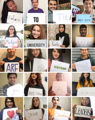 "Compilation image with photos of students holding signs that, together, read: ""Welcome to the Western Michigan University family. We are so excited that you are now a Bronco. Go Broncos!"""