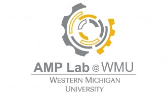 WMU AMP lab gear-like logo