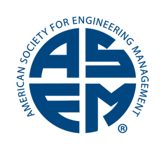 large block letters A, S, E, and M forming a circle with the words American Society for Engineering Management wrapped around the circle.