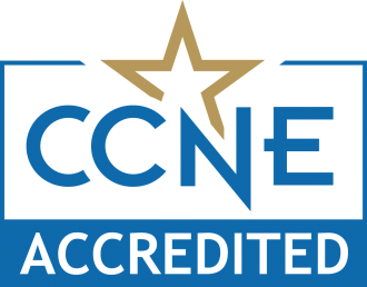 CCNE in blue text on white background underneath the gold outline of a star, all above the word accredited in white text on a blue background