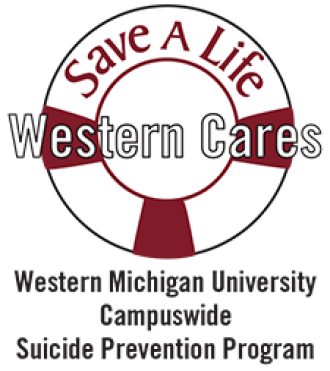 Graphic logo: Save a Life Western Cares WMU Campuswide Suicide Prevention Program