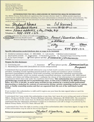 graphic example of filled out release of information