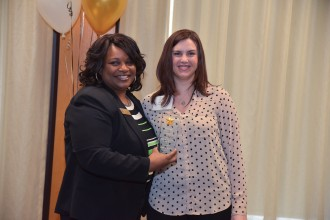 "Dr. Deveta Gardner of Career and Student Employment Services awarding Kimberly Rossman, Coordinator of Annual Giving with Development and Alumni Relations, her ""Student employee supervisor of the year 2017"" award at the Student Employee Appreciation Week 2017 reception."