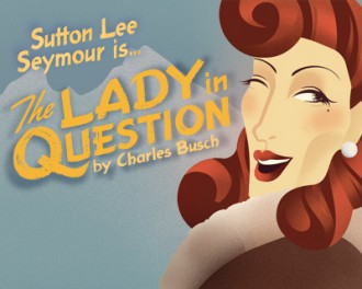 Sutton Lee Seymour is... The Lady in Question, Graphic Design showing a red headed woman winking.
