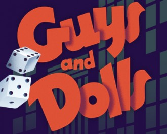 Guys and Dolls, graphic image with a pair of dice and city windows.