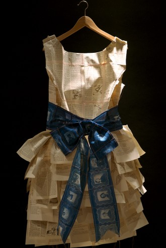 "Ginger Owen. History Dress #1, Cyanotype and mixed Media, 3' x 18"" x 2"""