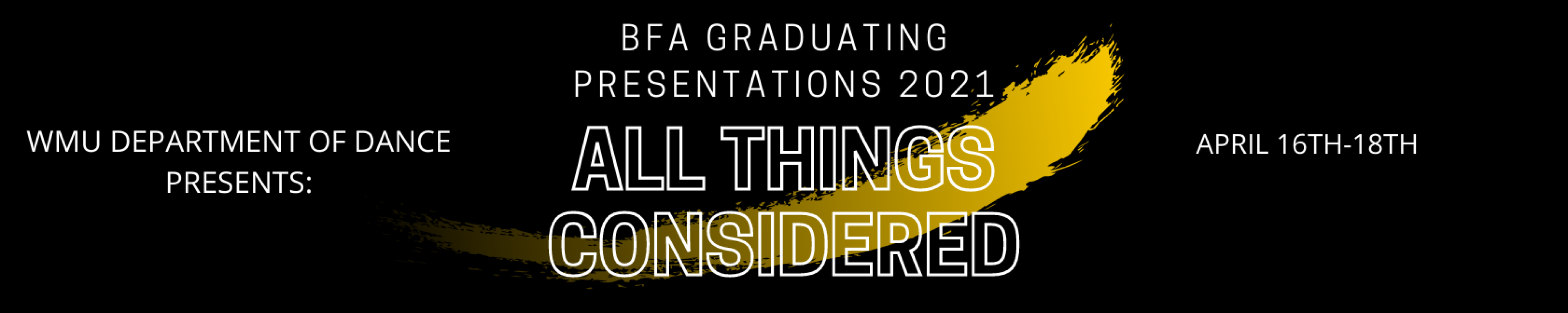 Black graphic with text for 2021 Graduating Presentations.