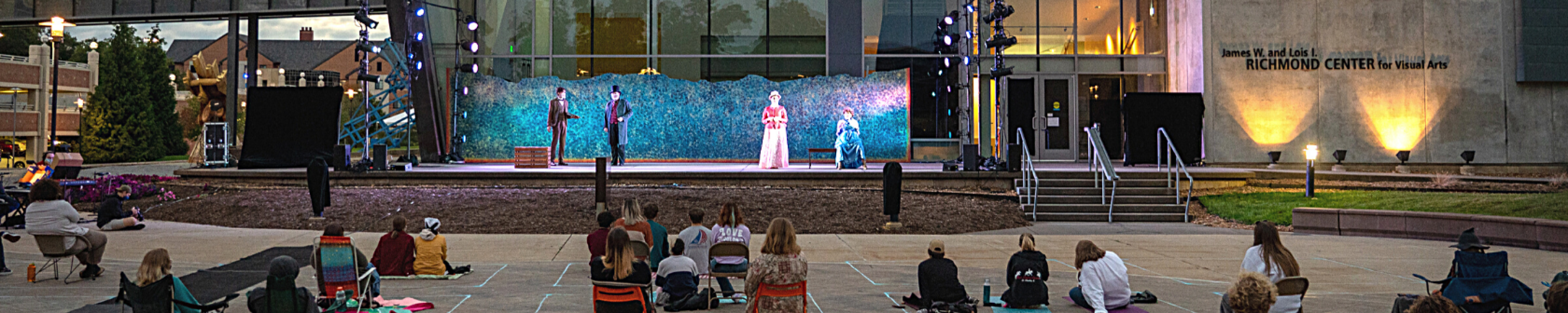 photos of an outdoor theatre show performing in front of a building.