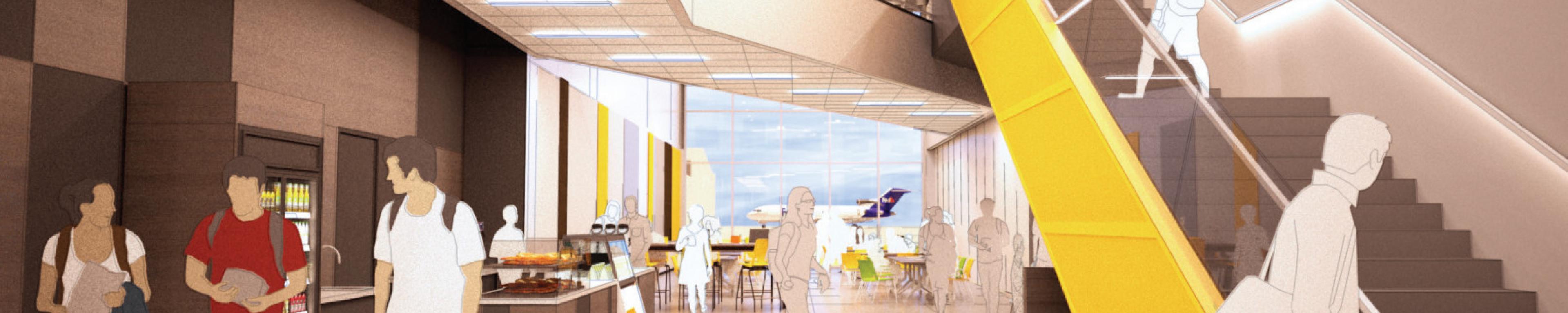 Artist rendering of Bistro BTL on WMU's Aviation Campus