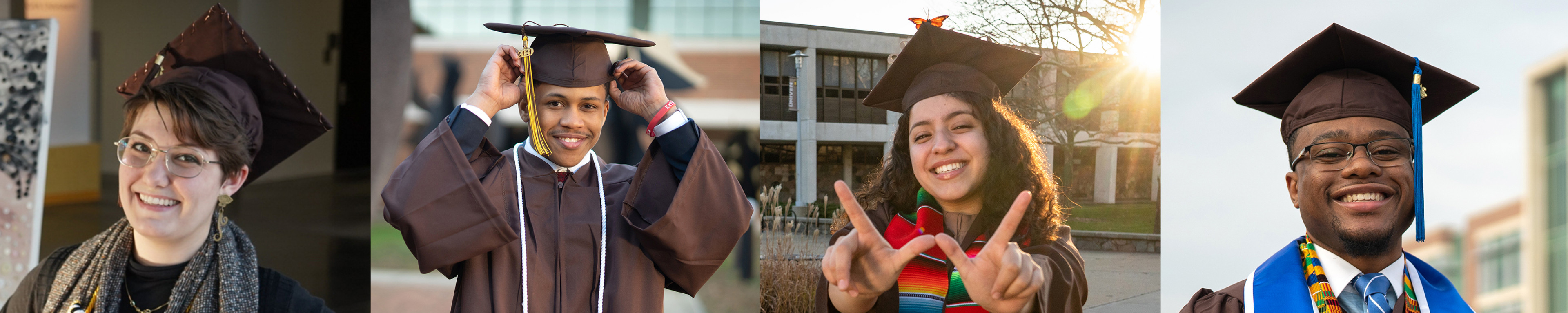 Photos of students in graduation caps.