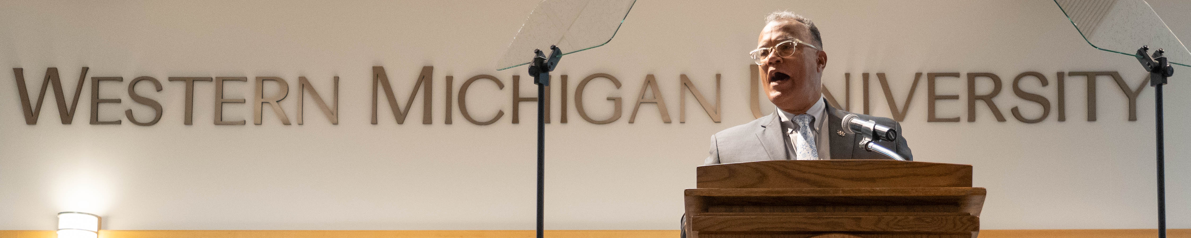 Page banner image: WMU President Montgomery speaking at the awards ceremony