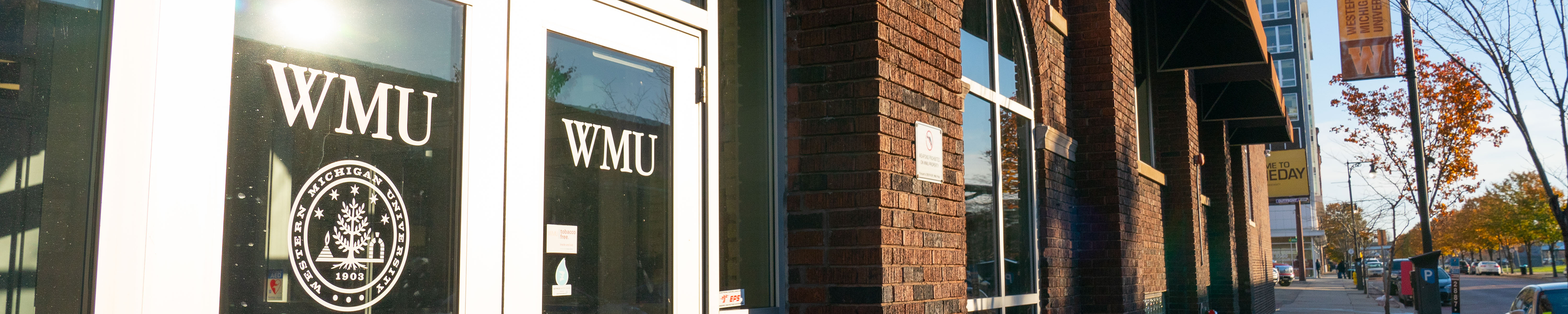 Page banner: WMU-Grand Rapids front doors