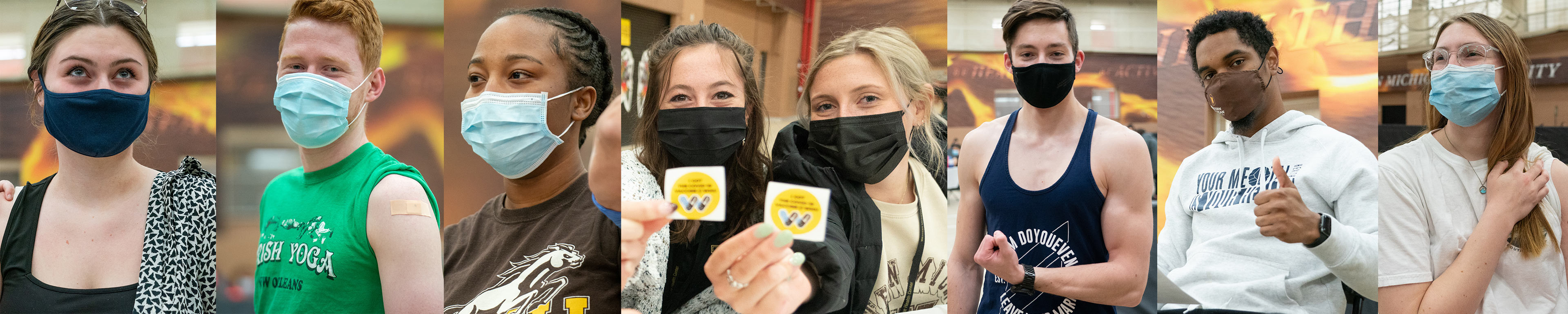 Eight WMU students wearing masks at a COVID-19 vaccination event.