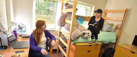 Two students talking in a residence hall room.