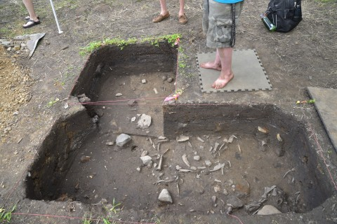 Photo of an excavation hole at Fort St. Joseph revealing small artifacts.