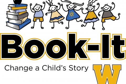 Logo with cartoon children and a gold W with the words Book-it Change a Child's Story.