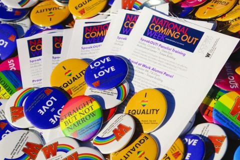 Several buttons made by the Office of LBGT Student Services.