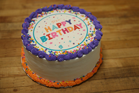 Happy Birthday decorated cake