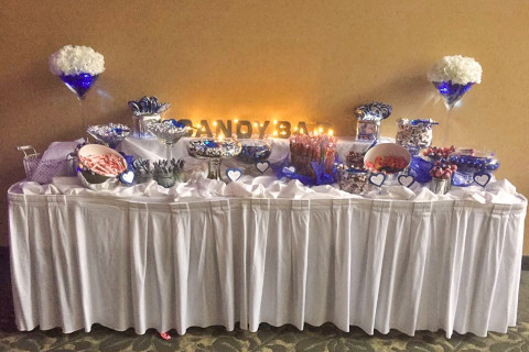 Candy bar with blue decorations