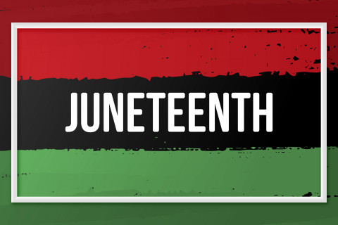 """The word """"Juneteenth"""" with a red, black and green striped background."""