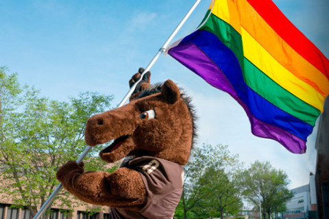 Buster Bronco carries the Pride flag.