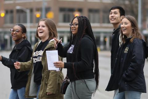 A group of five WMU students explore downtown Kalamazoo