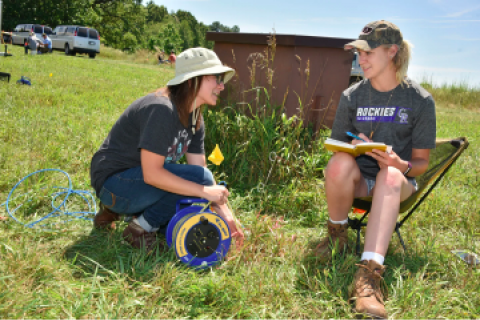 Students monitor an aquifer test in WMU's Asylum Lake wellfield by measuring water levels during a hydrogeology field course.