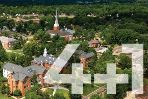 "Aerial view of Albion College with ""4+1"" written on top"