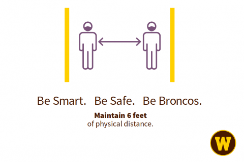 Sign showing 6 feet of physical distance needed.