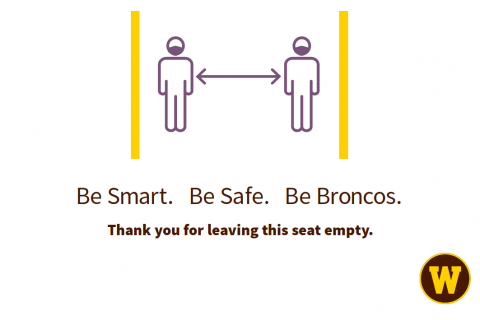 A sign showing you need to leave an empty seat between you and the next person.