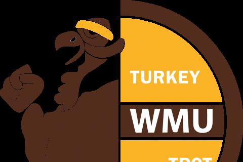 Turkey Trot logo, Turkey running with a headband and words, WMU Turkey Trot