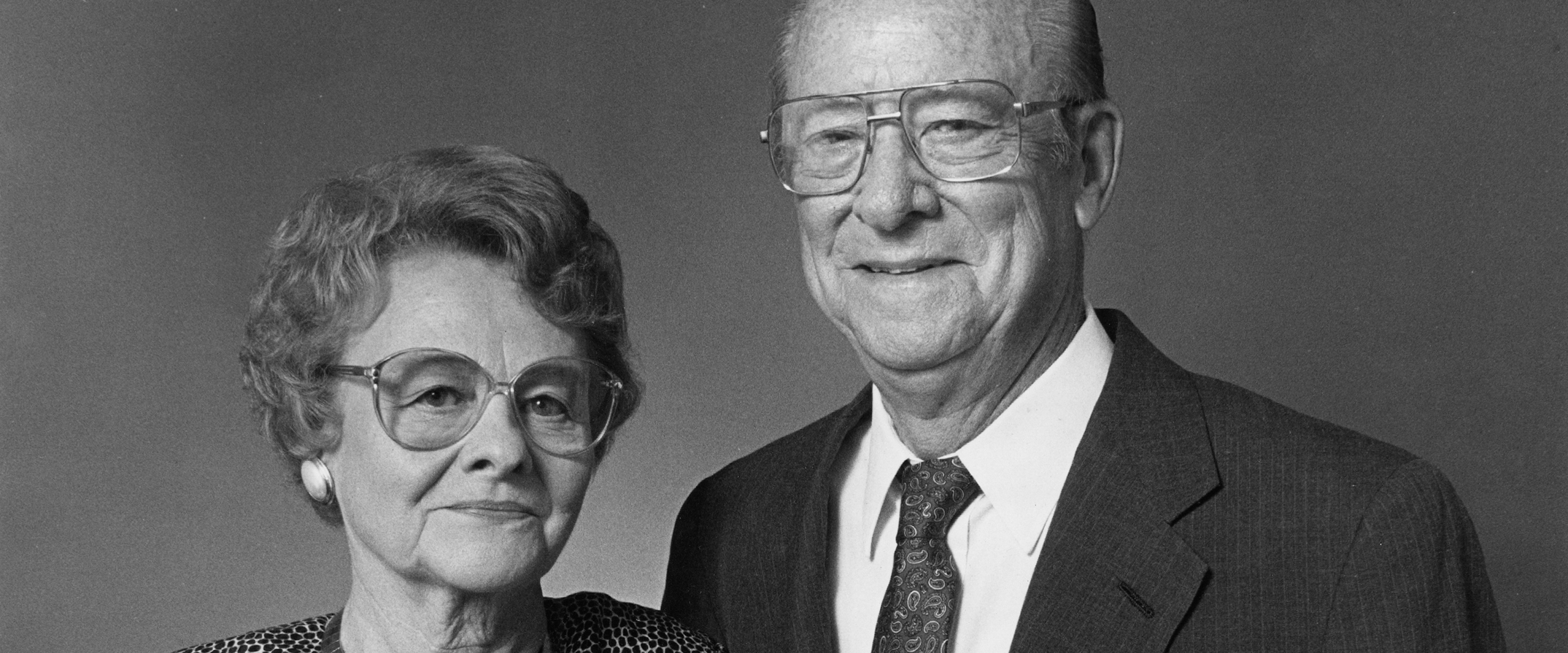 Head and shoulders studio portrait of Winifred and Carl Lee.