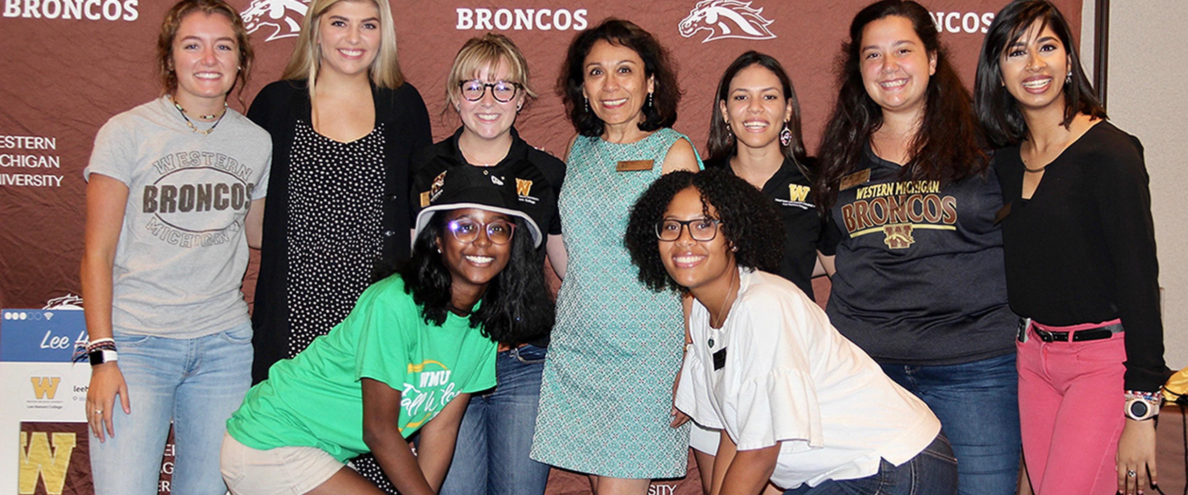 Dean Irma Lopez with female peer student success team mentors.