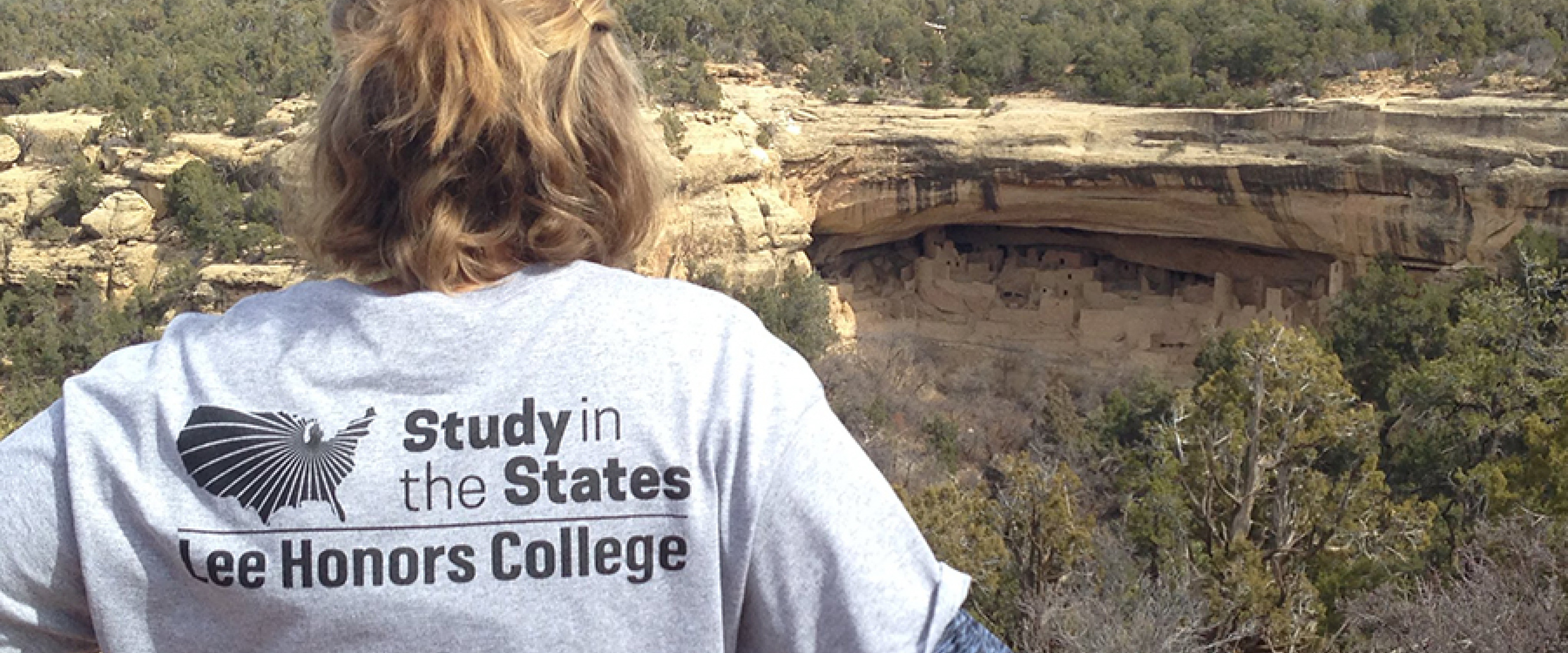 A student looks out over canyons on a Study in the States trip.