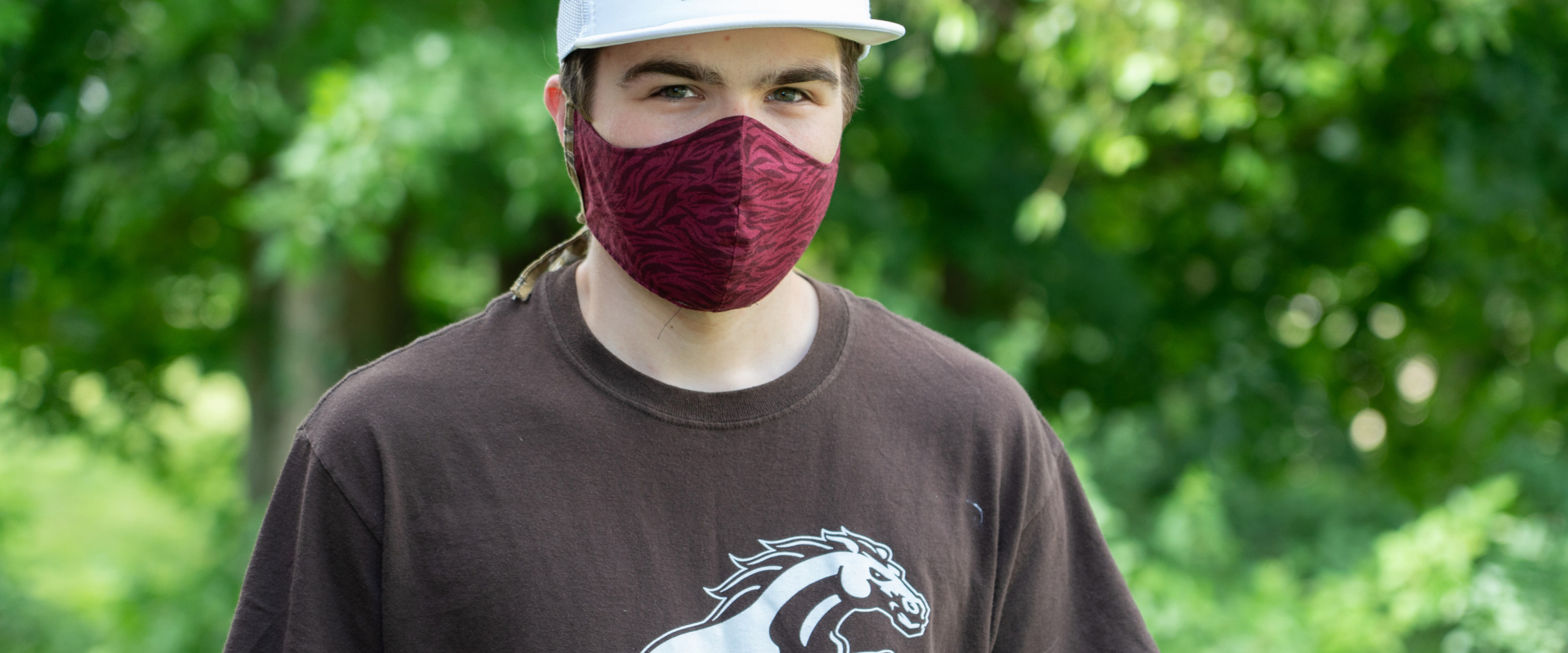 Pictured is student wearing face mask
