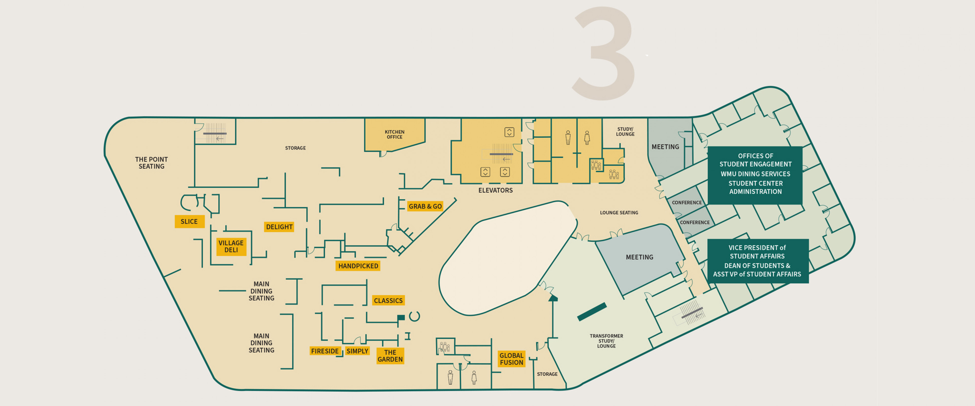 3rd floor of new student center