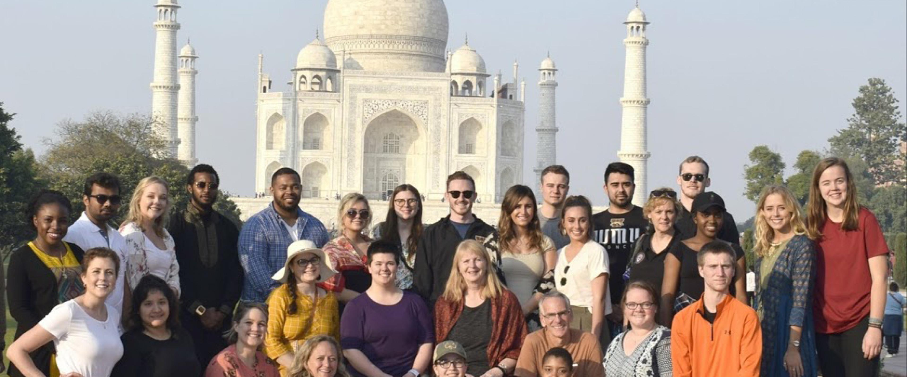 students in front of Taj Mahal