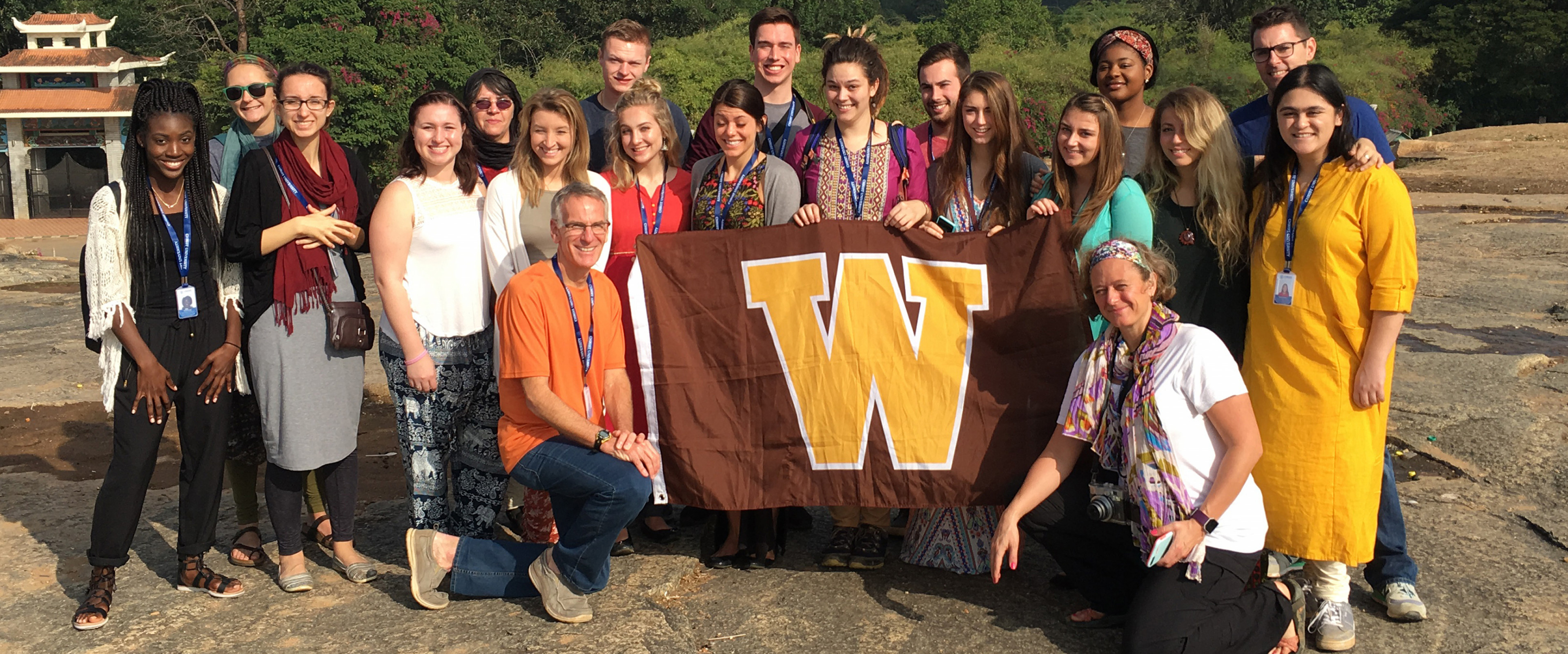 Students with W flag in India