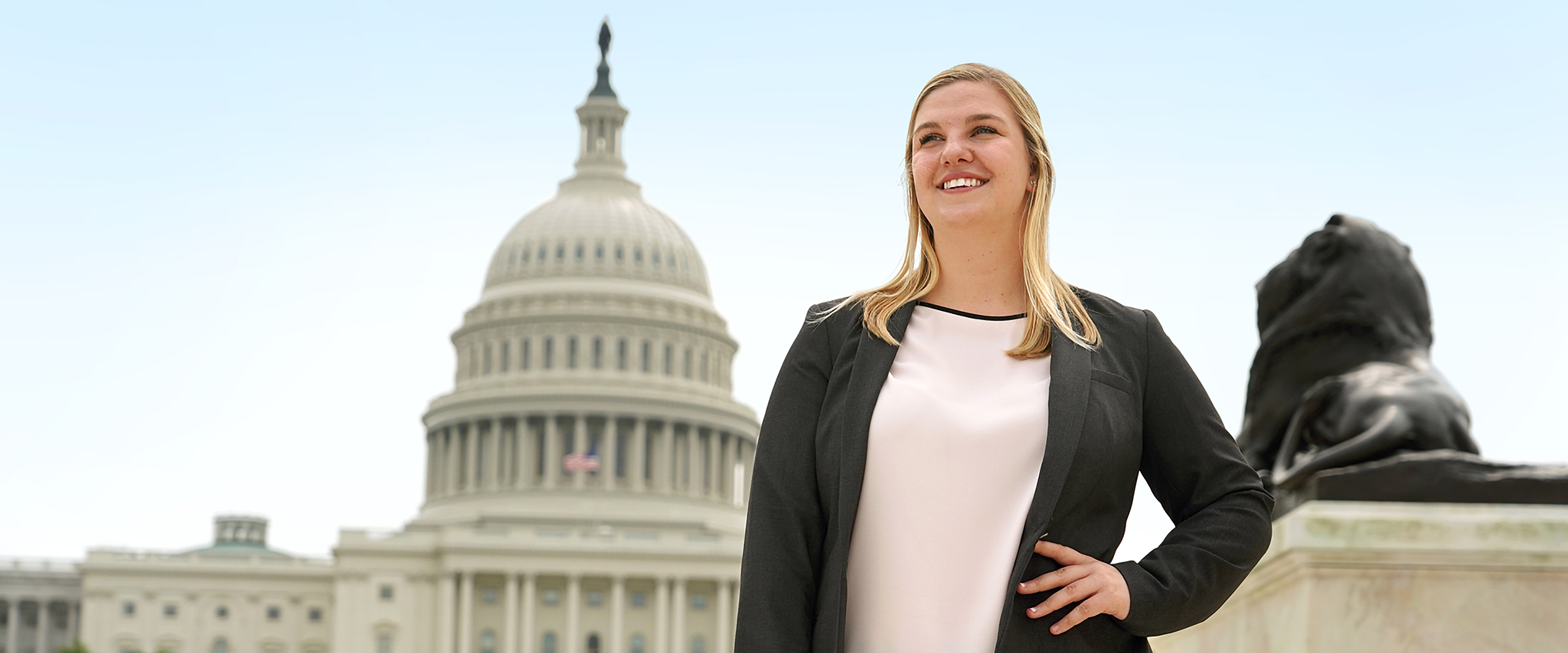 Slideshow image: WMU student poses in front of the US Capitol building in Washington, D.C.
