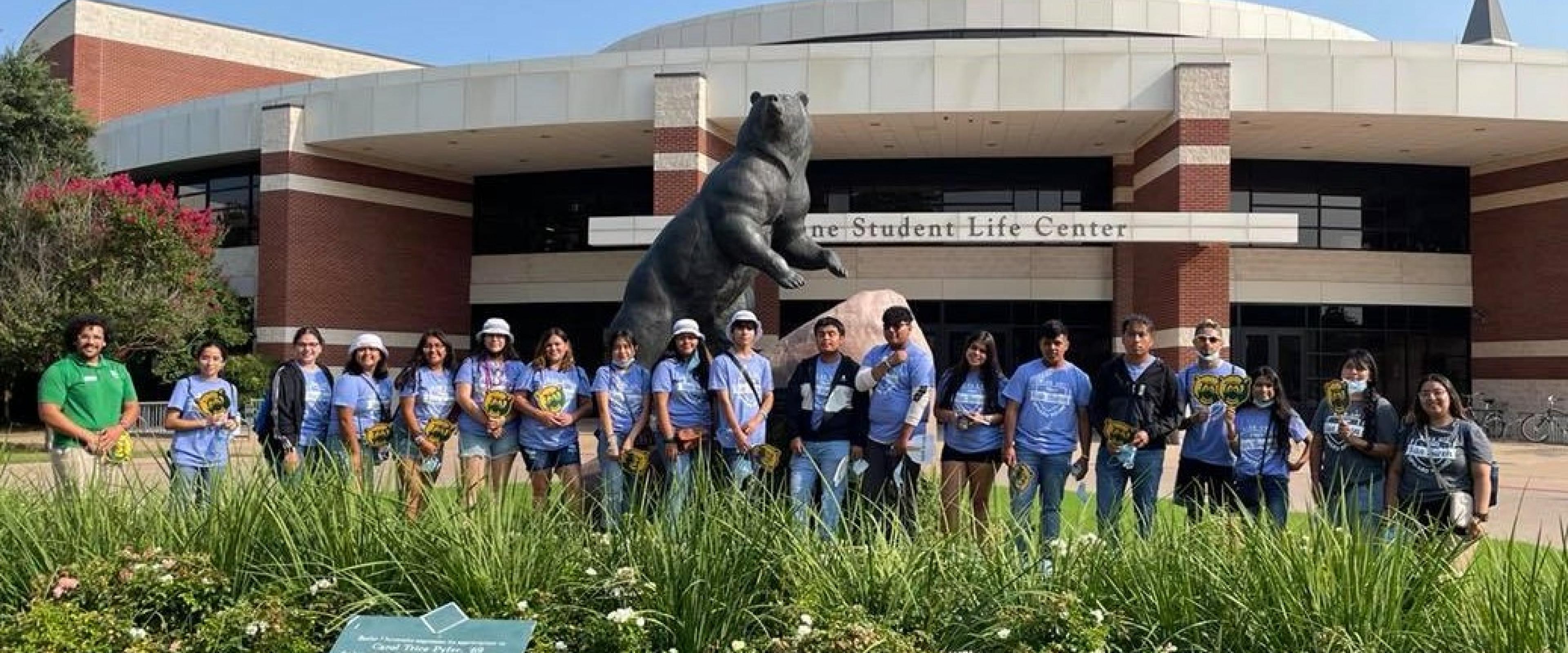 Upward Bound students posing on a trip