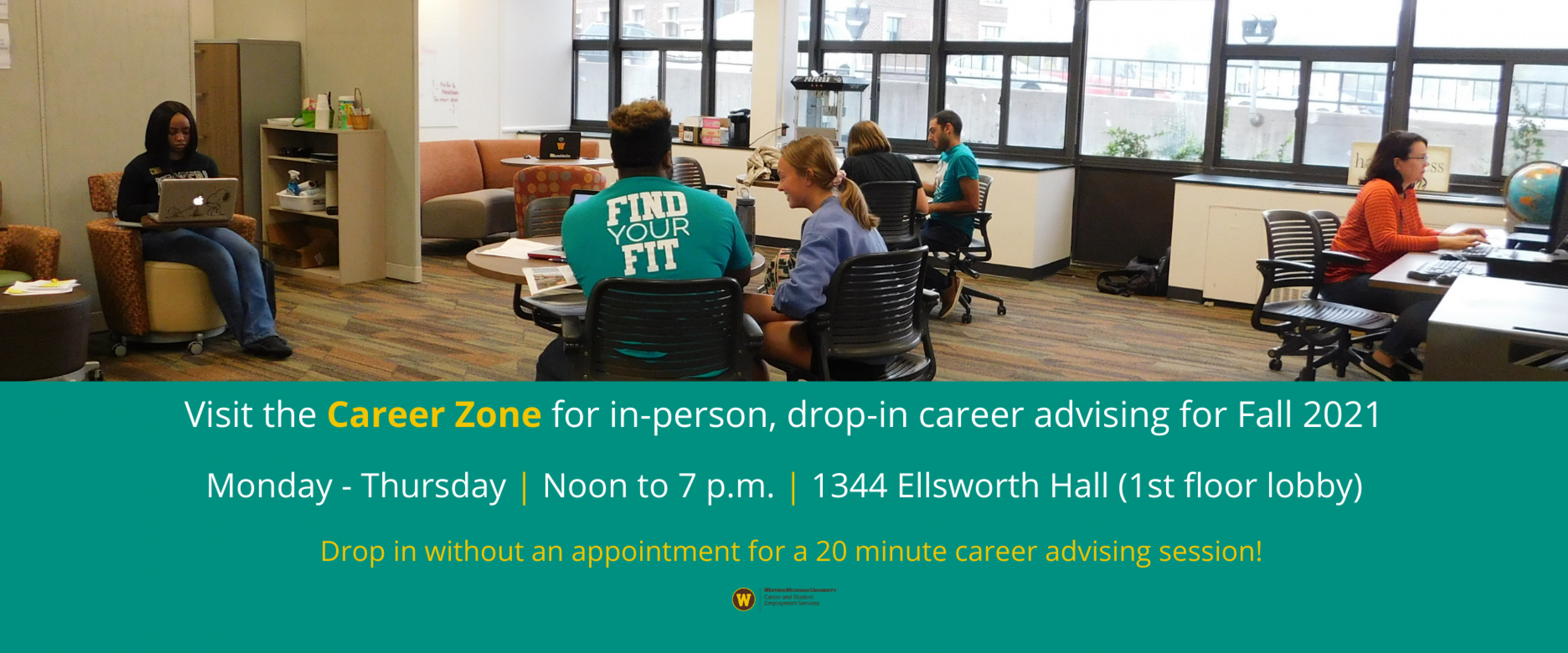 Visit the Career Zone for in-person, drop-in career advising for Fall 2021. Monday through Thursday, noon to 7 p.m., 1344 Ellsworth Hall (1st floor lobby). Drop in without an appointment for a 20 minute career advising session!