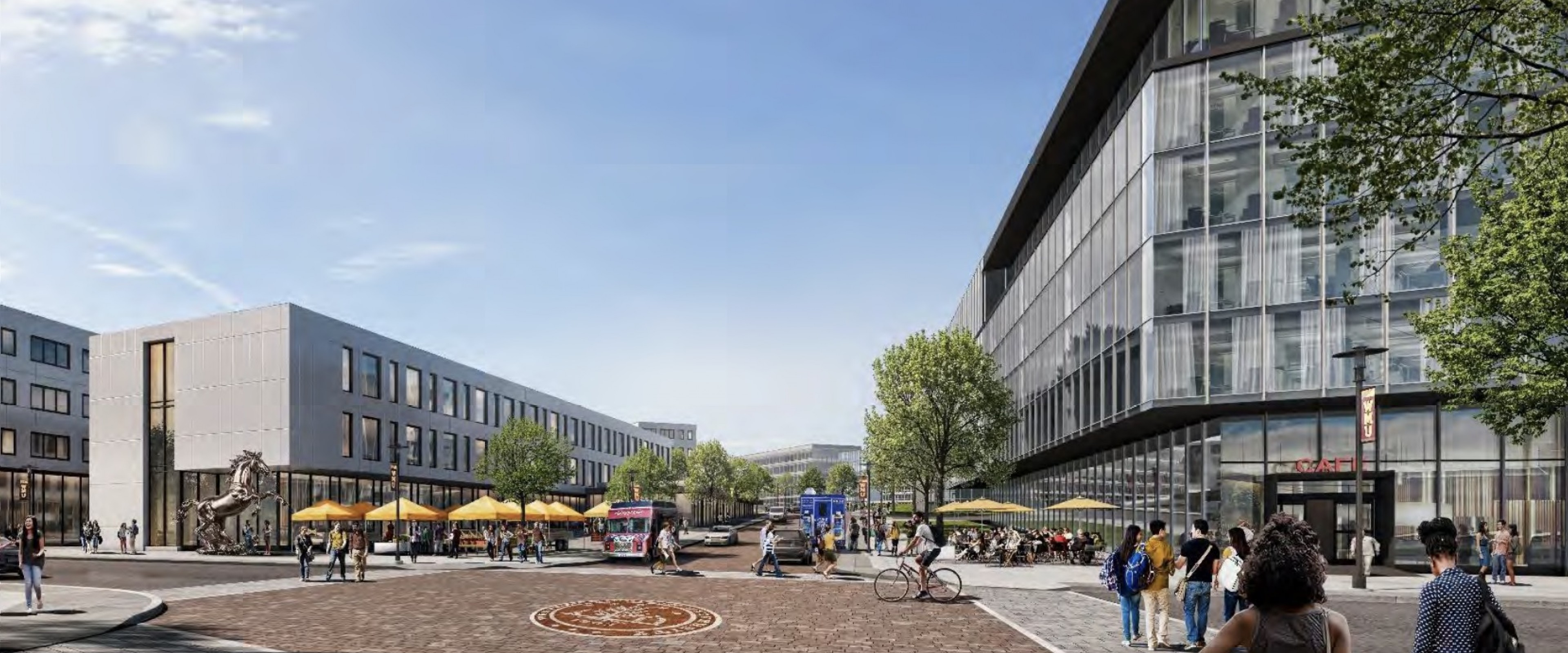 Rendering of an open area showing a large brick walkway between buildings with the official WMU seal embedded in the brickwork