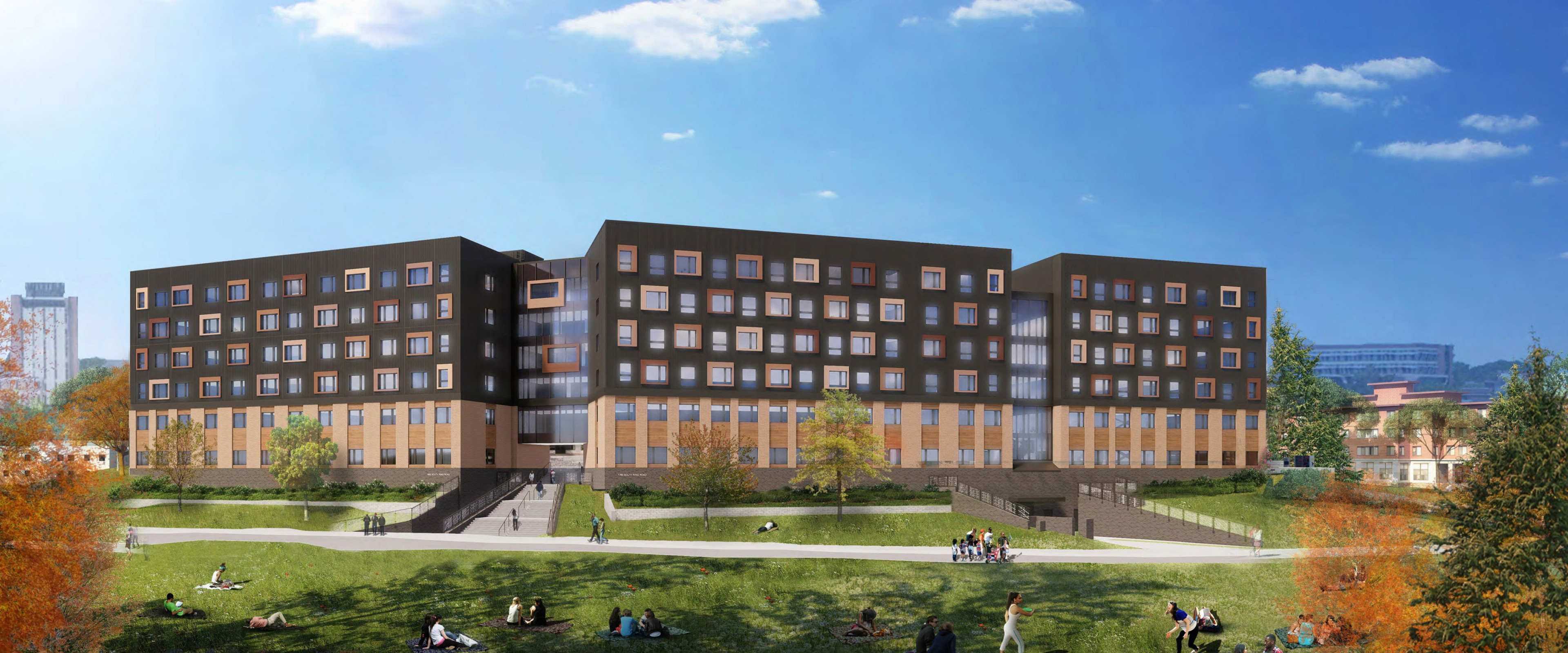 Rendering of the exterior of the Arcadia Flats student apartment buildings